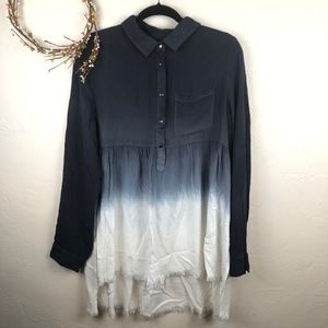Umgee Ombre Hi Low Fringe Tunic Top